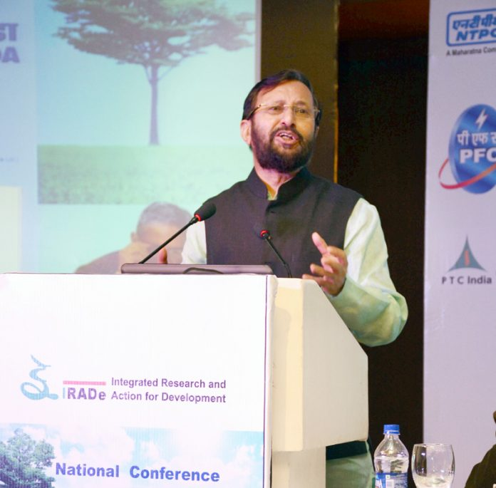 The Union Minister for Human Resource Development, Shri Prakash Javadekar delivering the inaugural address at the National Conference on Post-Paris Climate Action organised by IRADe, in New Delhi