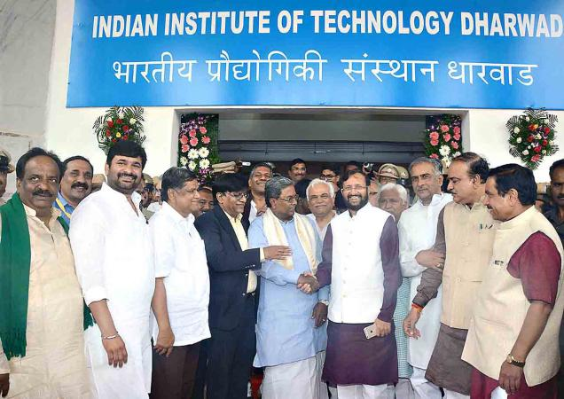 Union Minister for Human Resource Development Prakash Javadekar and Chief Minister Siddaramaiah during the inauguration of Indian Institute of Technology in Dharwad on Sunday.