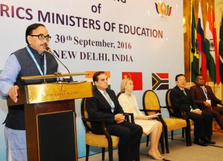 The Minister of State for Human Resource Development, Dr. Mahendra Nath Pandey addressing the press conference on the 4th Meeting of BRICS Ministers of Education, in New Delhi on September 30, 2016.