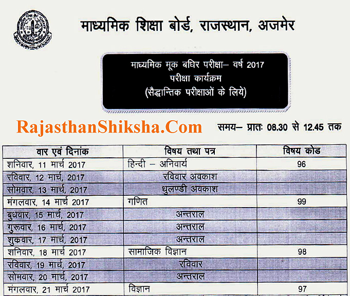 secondery exam 2017 rajasthan board of secondery education 10th mook baghir