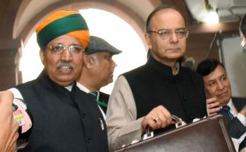 Arun Jaitley along with the Arjun Ram Meghwal arrives at Parliament House to present the General Budget 2017-18